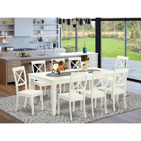 Mission-Style Off-White Wood Extendable Dining Set