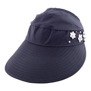 Imitation Pearl Flower Decor Adjustable Beach Floppy Cap Sun Visor Hat Navy Blue