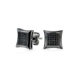 Bling Jewelry Micro Pave CZ Kite Studs Black Rhodium Plated Silver
