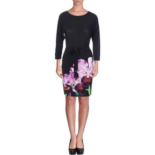 Calvin Klein Womens Floral Print 3/4 Sleeves Wear to Work Dress