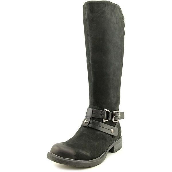 Earth Sierra Women Round Toe Leather Black Knee High Boot