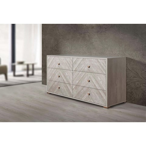 """Florence Collection 61"""" Dresser with 6 Soft Closing Drawers and Metal Handles in White Oak Matt Finish"""