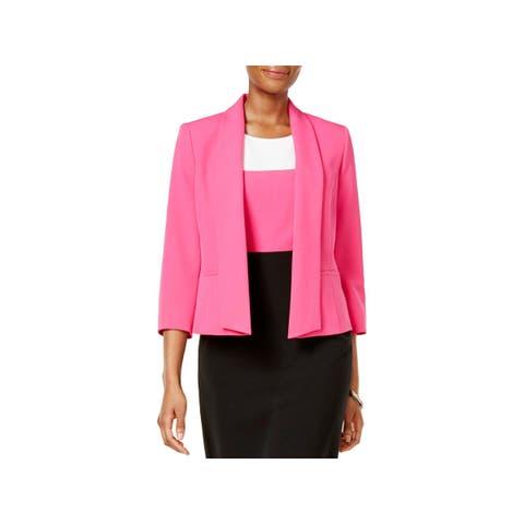 2babd4ad156 Kasper Womens Open-Front Blazer Shawl Collar 3 4 Sleeves