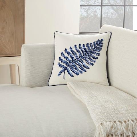 "Mina Victory Royal Palm Indigo Throw Pillow 16"" x 16"""