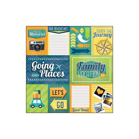 P-0734e paper house paper 12x12 family vacation tags