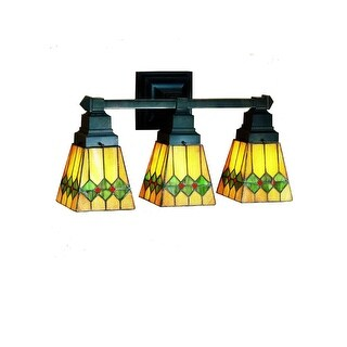 "Meyda Tiffany 48034 Martini Mission 3 Light 20"" Wide Bathroom Vanity Light with Tiffany Glass Shade"