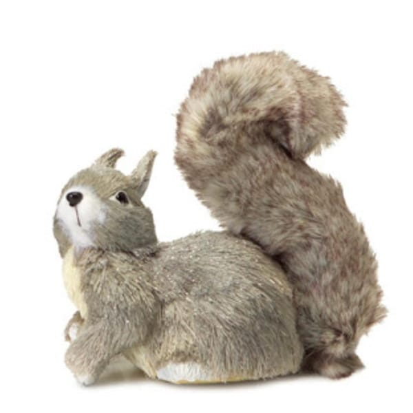 "8"" Shimmering Silver Gray Left Facing Fluffy Tail Sisal Squirrel Christmas Table Top Decoration"