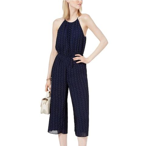 Maison Jules Women's Pleated Cropped Jumpsuit Blue Notte Combo Size 14