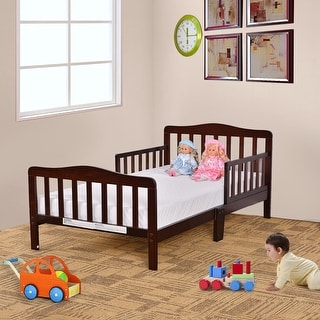 Costway Baby Toddler Bed Kids Chirldren Wood Bedroom Furniture w/ Safety Rails Brown
