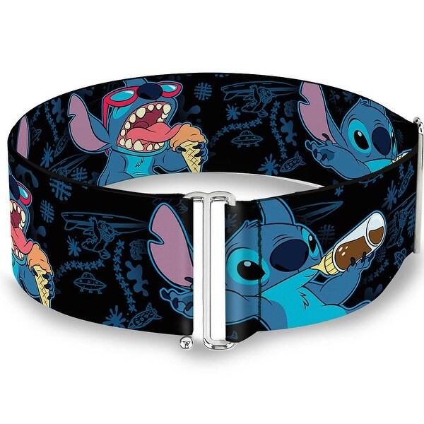 Stitch Snacking Poses Black Blue Cinch Waist Belt ONE SIZE
