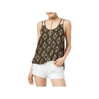 Hippie Rose Womens Juniors Tank Top Printed Strappy
