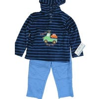 Carter's Baby Boys Blue Navy Striped Truck Motif Hooded 2 Pc Pants Set 12-24M