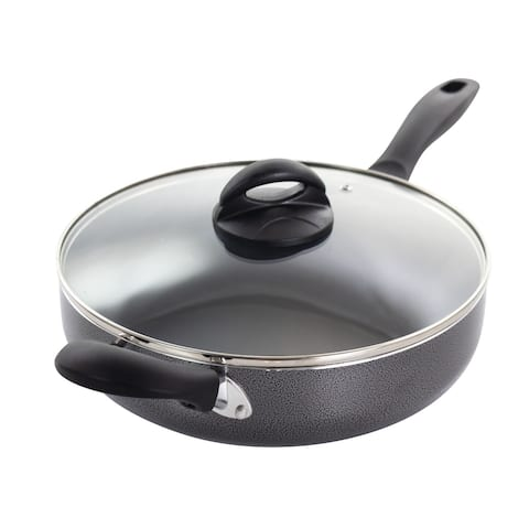 Oster Clairborne 10.25 Inch Aluminum Sauté Pan with Lid in Charcoal Grey