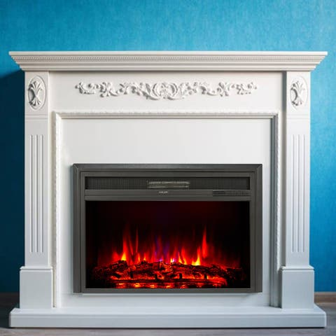 """CO-Z 32"""" Recessed Electric Fireplace Insert Remote Control Adjustbale Thermostat Timer 750/1500W"""