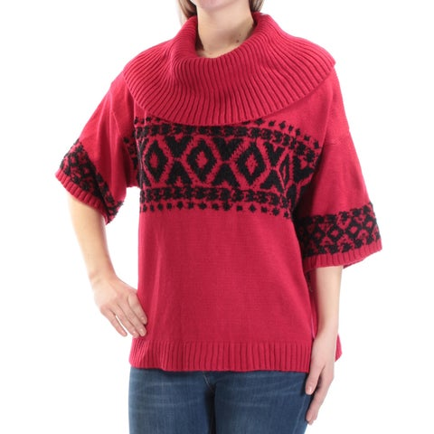Womens Red Black Short Sleeve Cowl Neck Casual Sweater Size M
