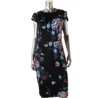 Betsey Johnson Womens Floral Print Cap Sleeve Wear to Work Dress