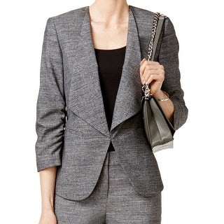 Nine West NEW Gray Women's Size 8 Collarless Ruched Seamed Jacket