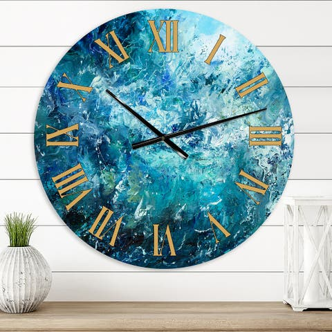Designart 'Wild Blue Ocean Waves V' Nautical & Coastal wall clock