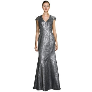 Theia Metallic Lace Contrast Cap Sleeve Evening Gown Dress - 14