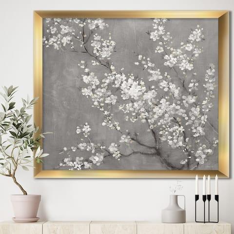 Designart 'White Cherry Blossoms II' Traditional Framed Art Print