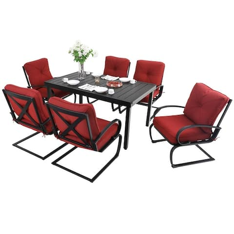 MFSTUDIO 7/9 PCS Outdoor Patio Dining Set, 6/8 Spring Motion Chairs with Cushion, 1 Rectangular Expandable Table