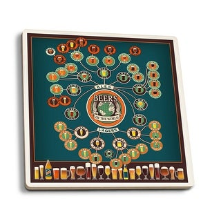 Beers of the World Infographic - LP Artwork (Set of 4 Ceramic Coasters)