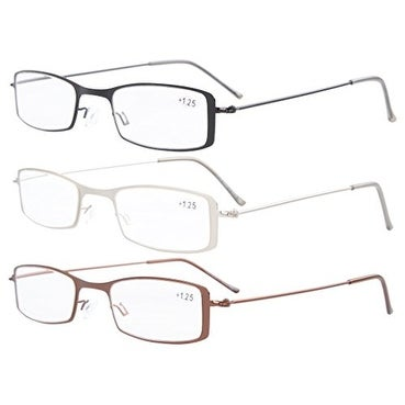Eyekepper 3-Pack Stainless Steel Frame Half-eye Style Reading Glasses+1.25