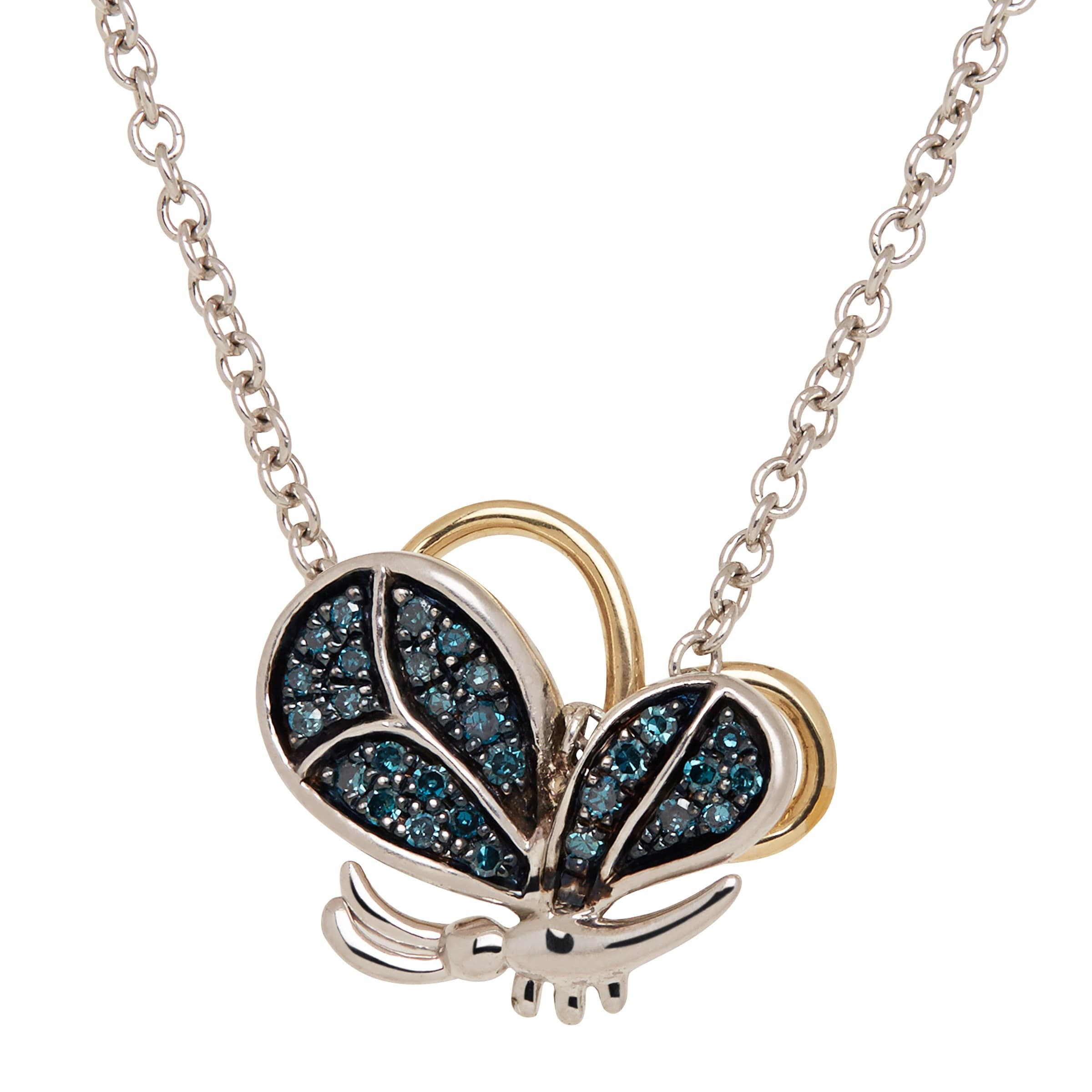 1//8 ct Blue Diamond Butterfly Pendant in Sterling Silver /& 14K Gold