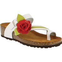 Spring Step Women's Lilah Toe Loop Sandal White Leather