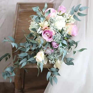 Wedding Bouquet Purple Pink Rose Bridal Bouquet - Green