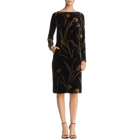 Lafayette 148 New York Womens Loribel Golden Bloom Velvet Dress Petite Black Multi
