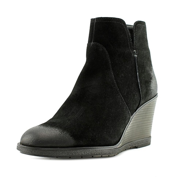 Kenneth Cole Reaction Dot-Ation Women Round Toe Suede Black Ankle Boot