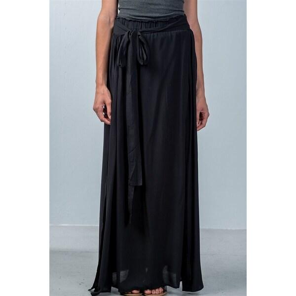 ea476dc53d Shop Ladies Fashion Black Tie Waist Double Slit Maxi Skirt - Size ...