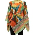 Beautiful Chiffon Lightweight Poncho Wrap Scarf Bright Floral Print - Thumbnail 0