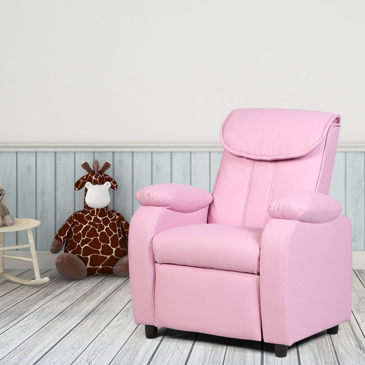 Costway Kid Recliner Sofa Armrest Chair Couch Children Living Room  Furniture Home Pink
