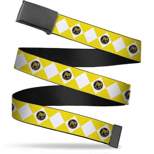 Blank Black Buckle Diamond Yellow Ranger Webbing Web Belt