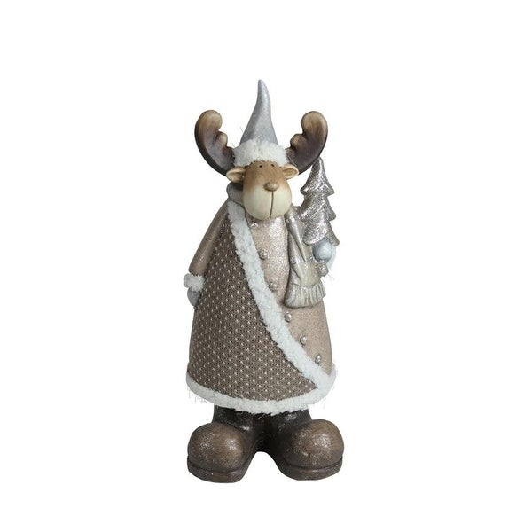 """15.75"""" Textured Eco-Friendly Reindeer with Silver Christmas Tree Tabletop Figure - brown"""