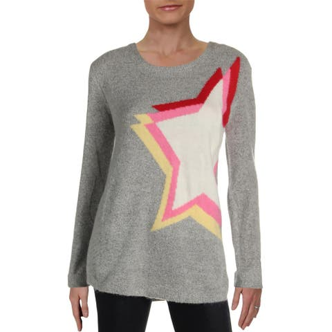 RD Style Womens Star Pullover Sweater Printed Scoop Neck - Grey