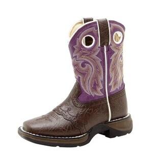 """Durango Western Boot Girl 8"""" Lacey Cowboy Heel Dark Brown Purple BT286"""