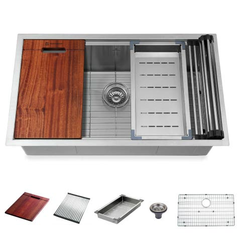 """Stainless Steel 32 in. Single Bowl Undermount Kitchen Sink without Faucet - 32"""" x 19"""" x 10"""""""