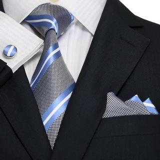 Men's Light Blue & White Stripes 100% Silk Neck Tie Set Cufflinks & Hanky 18A45