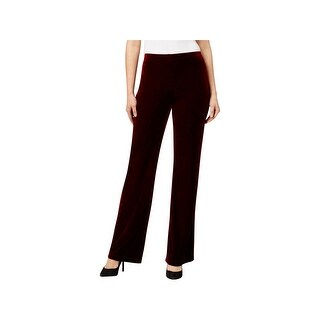 NY Collection Womens Petites Bootcut Pants Velvet Flat Front