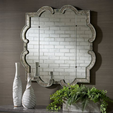 Fantina Antique Silver Paned Wall Mirror by iNSPIRE Q Classic