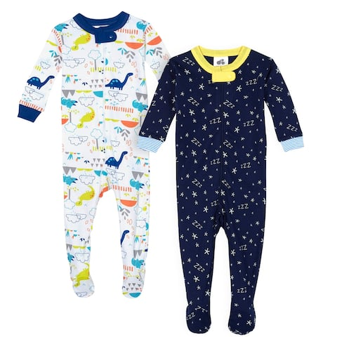 Just Born Baby Boys' 2-Pack Organic Sleep 'n Plays - Zzzzz & Dino - Multi/Blue