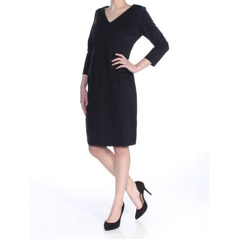 CHARTER CLUB Womens Black 3/4 Sleeve V Neck Above The Knee Sheath Dress Size: XS