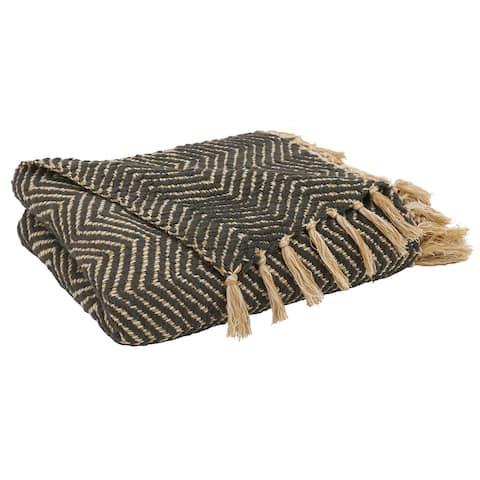 Throw Blanket With Chevron Weave Design