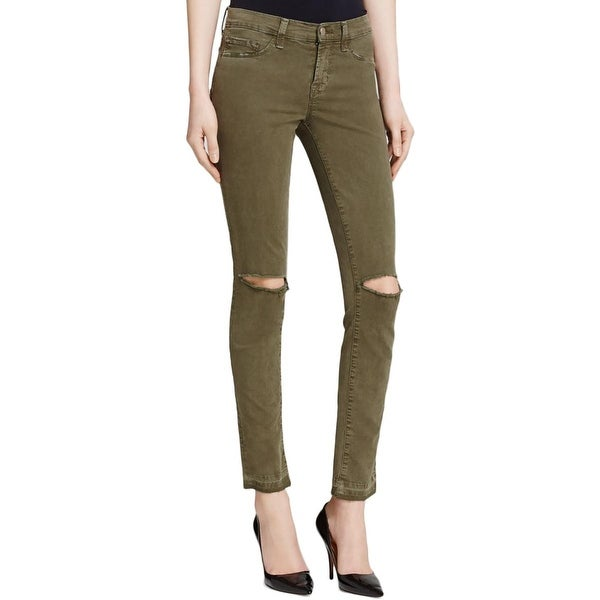 J Brand Womens Colored Skinny Jeans Denim Destroyed