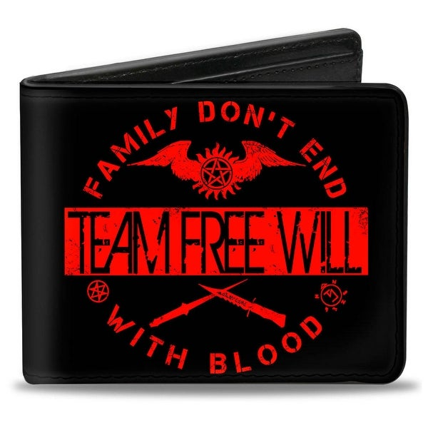Supernatural Team Free Will Family Don't End With Blood Black Red Bi Fold Bi-Fold Wallet - One Size Fits most