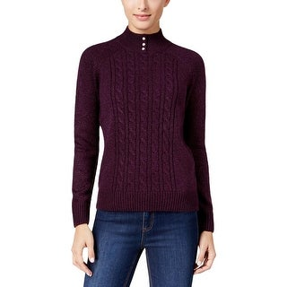 Karen Scott Womens Sweater Cable Knit Heathered
