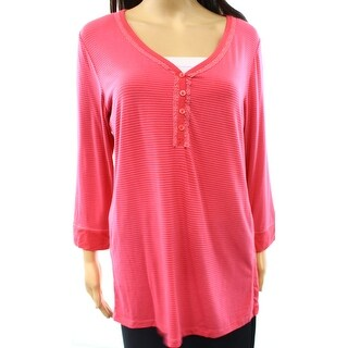DKNY NEW Pink LPace Detailed Henley Women's Size Medium M Sleepshirt